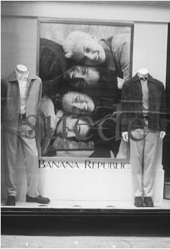 Banana Republic display window featuring two ensembles, 1998. © Fashion Syndicate Press.