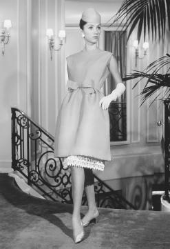 Marc Bohan, designed for the house of Christian Dior's 1965 collection: gazar cocktail dress with an embroidered underskirt. © Bettmann/CORBIS.