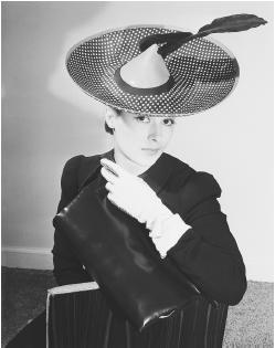 Lilly Daché, spring 1940 collection: polka-dotted foulard hat with quill. © Bettmann/CORBIS. 1950s;