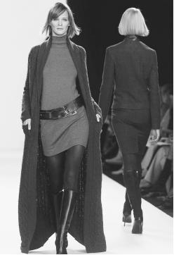 Ralph Lauren, fall 2001 collection: cashmere coat over a cashmere dress. © AP/Wide World Photos.