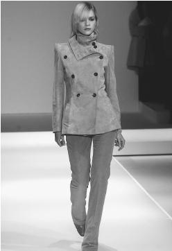 Max Mara SpA, fall/winter 2001-02 collection: suede jacket and pants. © AP/Wide World Photos.