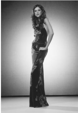 David Meister: jersey backless gown with rusching and front slit. © Gale Group.