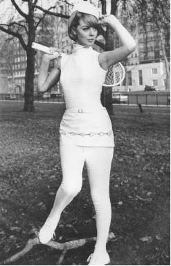 Ted Tinling, 1966 collection: dacron souffle tennis catsuit with a vinyl miniskirt decorated in a racquet motif. © AP/Wide World Photos.