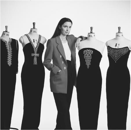 Catherine Walker with some of her designs. © Julian Calder/CORBIS.